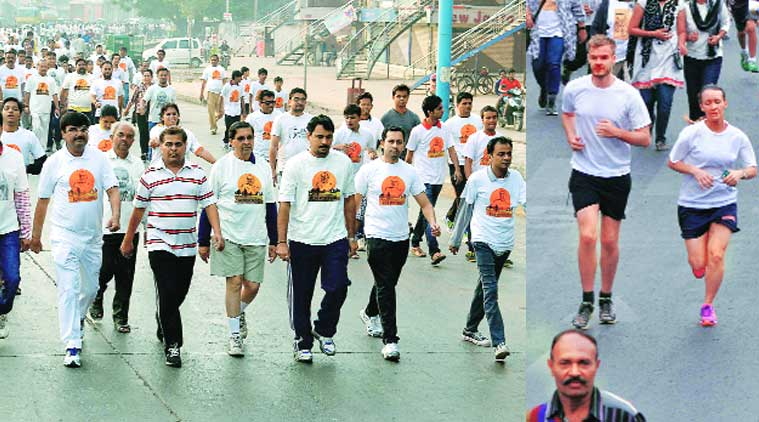 People participate in 'Run for Unity' race in Ahmedabad; Chief Minister Anandiben Patel performs the bhoomi puja for the Shresth Bharat Bhavan Convention Centre in Kevadia on Friday. BJP leader C R Patil and Mayor Niranjan Zajmera with other BJP leaders participate in the event at Surat on Friday.