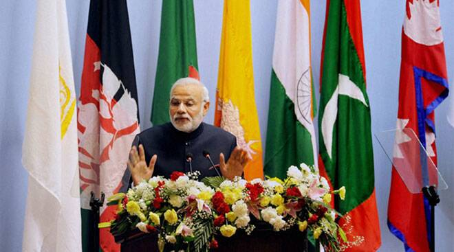Narendra Modi addresses the 18th SAARC summit in Kathmandu, Nepal