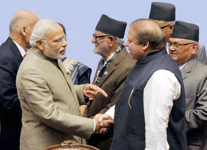 Prime Minister Narendra Modi on Thursday exchanged pleasantries with Pakistan Prime Minister Nawaz Sharif during the SAARC retreat in Nepal. (Source: PTI)