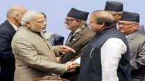 The Modi-Sharif handshake at SAARC summit inKathmandu