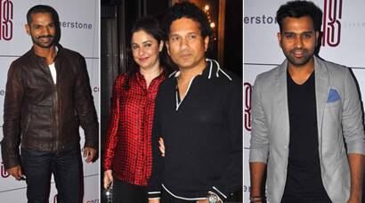 Sachin Tendulkar, wife Anjali, Nita Ambani with son Akash at Rohit Sharma felicitation