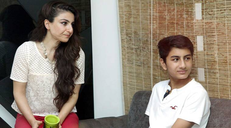 Teenager Ibrahim, who was last seen in public with his mom Amrita Singh at the Bachchans Diwali bash, looked relaxed as he chatted with his 'bua' Soha Ali Khan.  (Source: PTI)