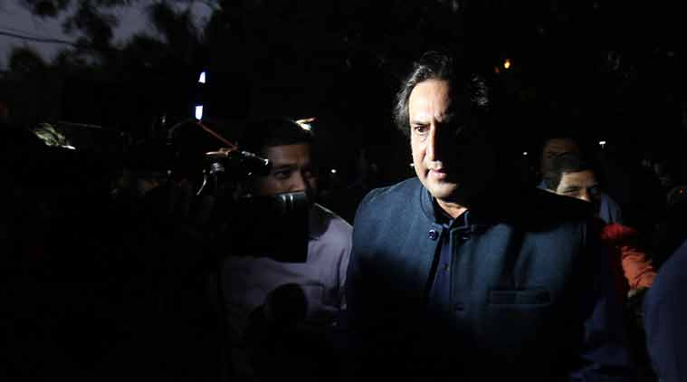 Former Jammu and Kashmir separatist leader Sajjad Lone out side PM residence after meeting with Narendar Modi in New Delhi on Monday. (Express photo by Anil Sharma)