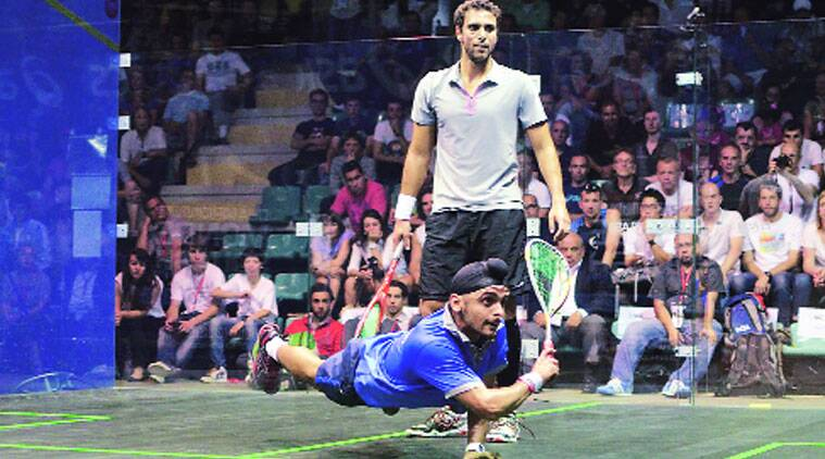 Harinder Pal Singh Sandhu beat India No.1 Saurav Ghosal in the final of the Nationals for his first senior title. (Source: Express photo by KEVIND'SOUZA)