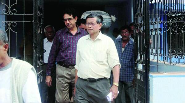 Probe committee members come out of the boys' hostel of NRS Medical College in Kolkata, after inspection on Monday. ( Source: Express photo by Partha Paul)