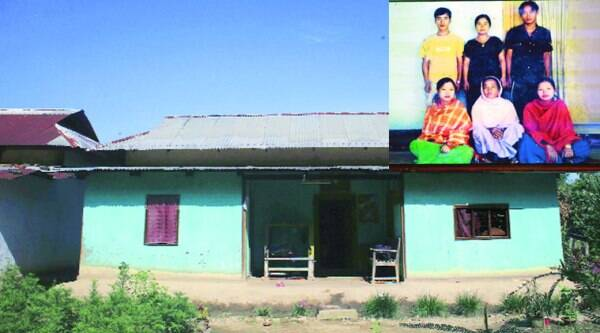 Manorama's house in Imphal. (Right) Manorama (standing, middle) with her relatives. ( Source: Express photo by: Deepak Shijagurumayum)