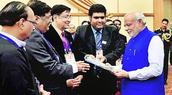Prime Minister Narendra Modi at a reception organised by the Indian community in Nay Pyi Taw, Myanmar, on Thursday. (Source: PTI)