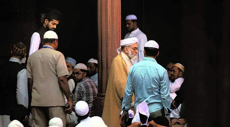Shahi Imam Syed Ahmed Bukhari (right) and his son Shaban Bukhari at Jama Masjid on Friday. (Source: Express photo by Oinam Anand)