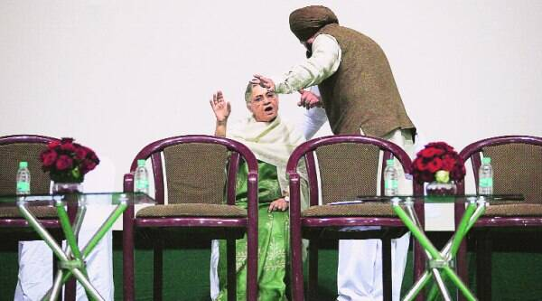 Former chief minister Sheila Dikshit with DPCC chief Arvinder Singh Lovely at Talkatora stadium. (Source: Express photo byAnil Sharma)