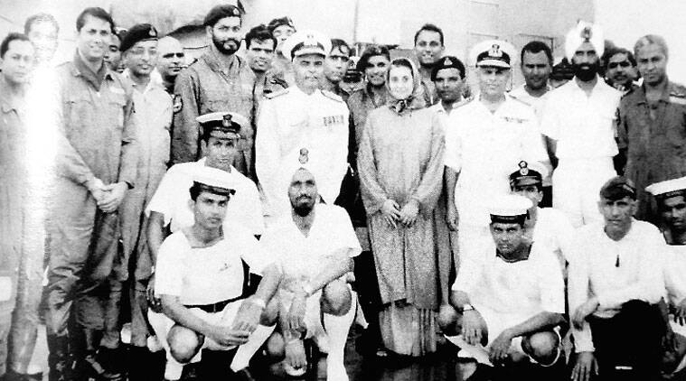 Indira Gandhi with the crew of the ship that helped her win the 1971 war with Pakistan
