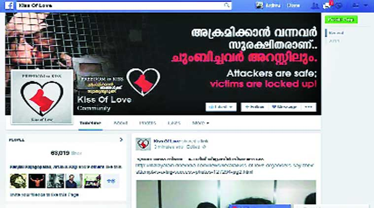 'Free Thinkers', a group of youths active on social networking website Facebook, organised the protest on Sunday and have made a Facebook page titled 'Kiss of Love'