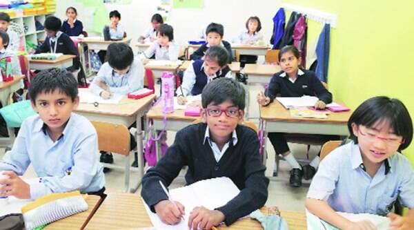 A classroom at the Global Indian International School, Tokyo.