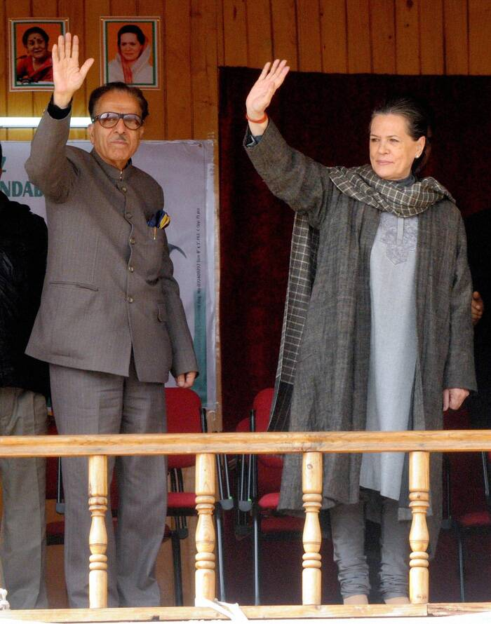 Sonia Gandhi, who is here to campaign for Congress candidate Usman Majid for the forthcoming Assembly elections, said the polls are taking place at a time when people of Kashmir are yet to come to terms with the devastation caused by floods.  Congress supporters at the rally. (Source: PTI)