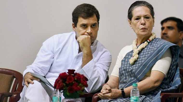 Congress President Sonia Gandhi with party Vice President Rahul Gandhi at the 125th Birth Anniversary Function of Pt Jawahar Lal Nehru at Talkatora Stadium in New Delhi on Thursday. (Source: PTI photo)