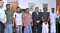 Five Tamil Nadu fishermen set free by Sri Lanka arrive in Chennai