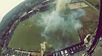 From chopper to stadium in six minutes. Here is the skydiver's view