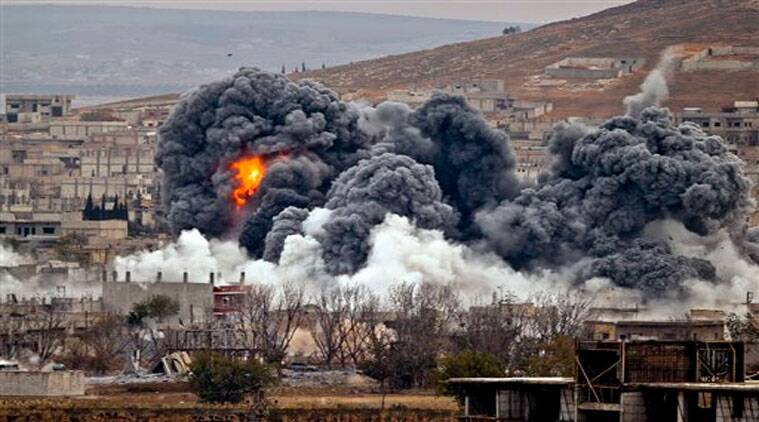 Smoke rises from the Syrian city of Kobani, following an airstrike by the US led coalition, seen from a hilltop outside Suruc, on the Turkey-Syria border on Nov. 17, 2014. (Picture for representational purpose only)
