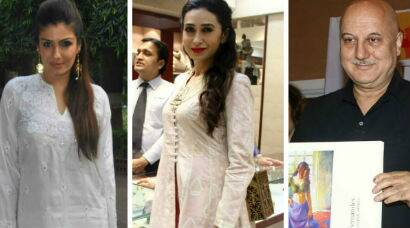 Busy day for Karisma Kapoor, Raveena Tandon, Anupam Kher