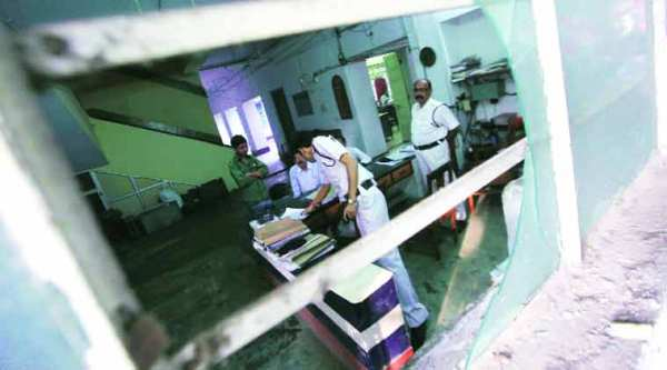 Alipore police station after some TMC supporters attacked it on Friday. (Source: Express photo by Subham Dutta)
