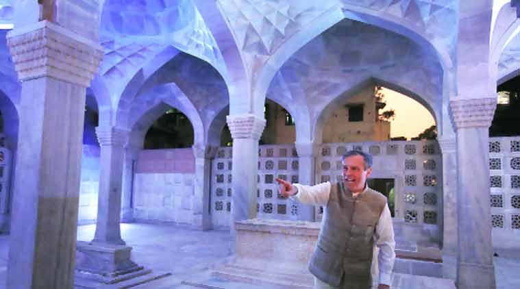 German Ambassador to India Michael Steiner inaugurates the renovated tomb in Nizamuddin on Sunday. (Source: Express photo by Oinam Anand)
