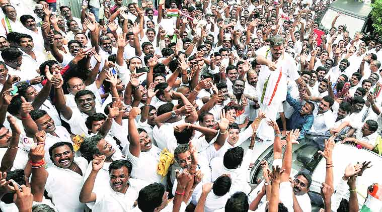 G K Vasan is surrounded by supporters in Chennai after he announced his decision.(Source: PTI photo)