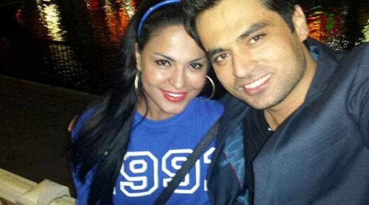 Veena Malik with her husband in happier times (Source: Twitter)