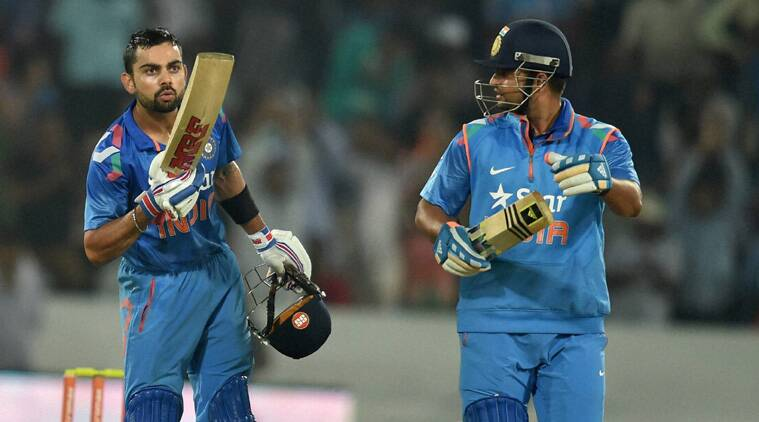 Virat Kohli blows a kiss after completing 6000 ODI runs (Source: PTI)
