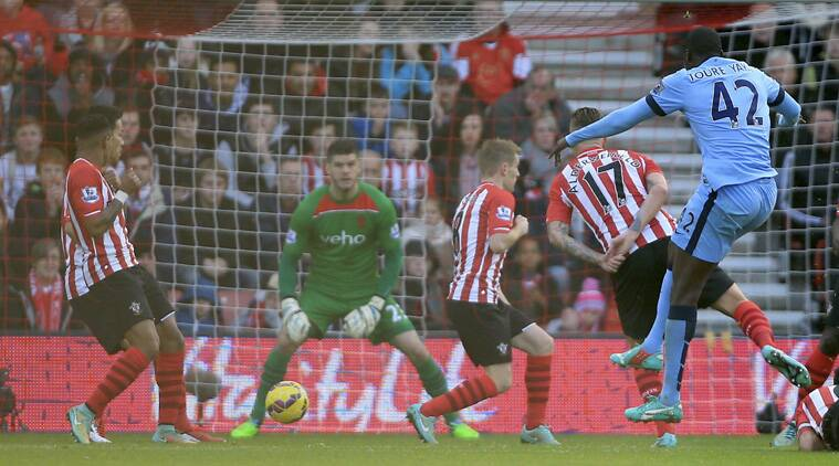 Manchester City's Yaya Toure, right, scored his sides first goal of the game against Southampton (Source: AP)