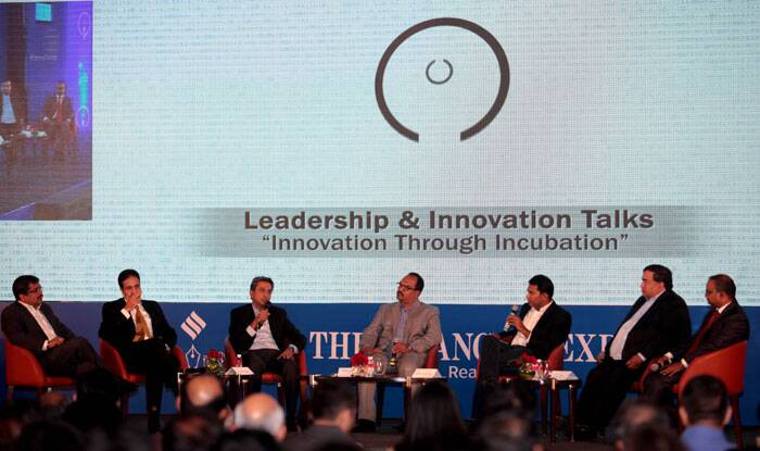 Panelists on the Leadership & Innovation talks during the Express IT Awards in Bengaluru on Dec  5th 2014. (Source: Express photo by Ravi Kanojia)