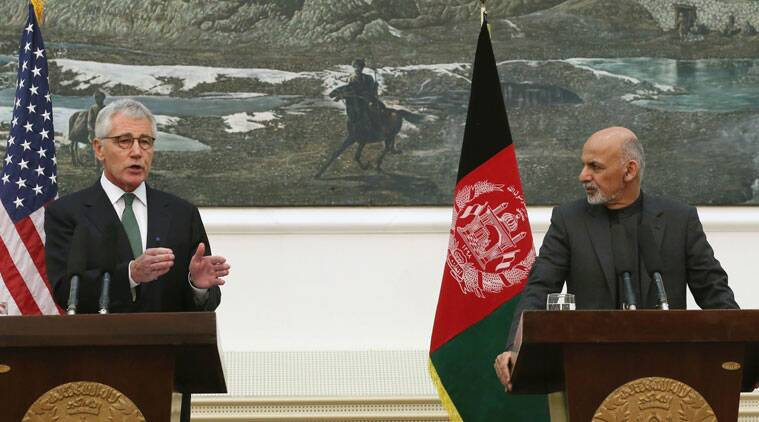 US Secretary of Defense Chuck Hagel holds a news conference with Afghan President Ashraf Ghani in Kabul, Afghanistan on Saturday. (Source: AP photo)