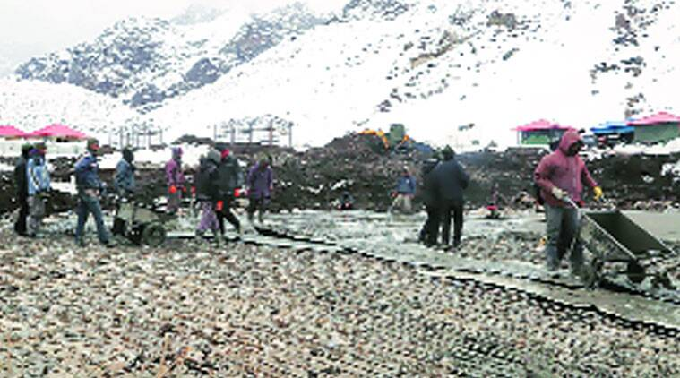 Padam Shahi's men worked for four months to build the helipad.(Source photo Sanjay Singh)