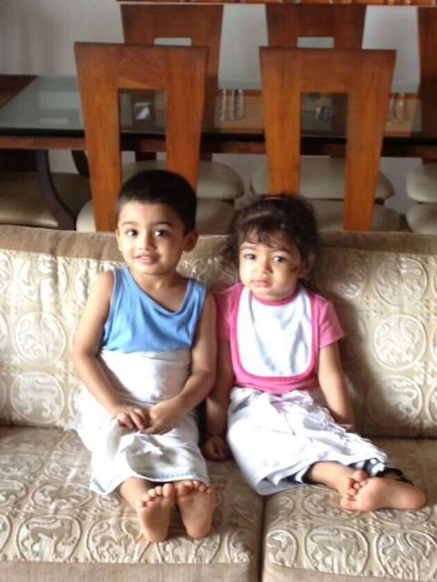 Toddler Aaradhya Bachchan plays with cousin brother Vihaan