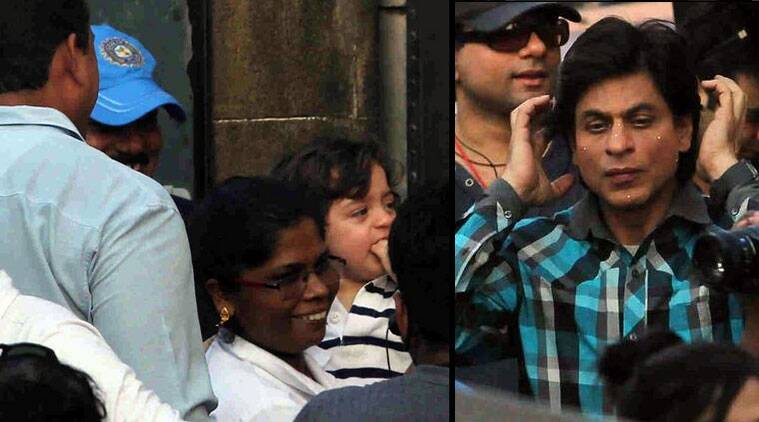 Bollywood superstar Shah Rukh Khan had a special spectator on the sets of his next film 'Fan' - his youngest son AbRam. (Source: Twitter)