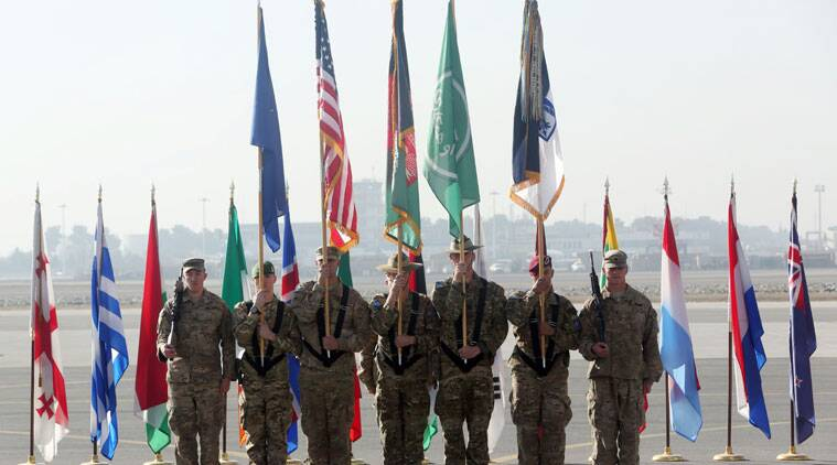 International Security Assistance Forces take party in a ceremony in Kabul, Afghanistan. (Source: AP photo)