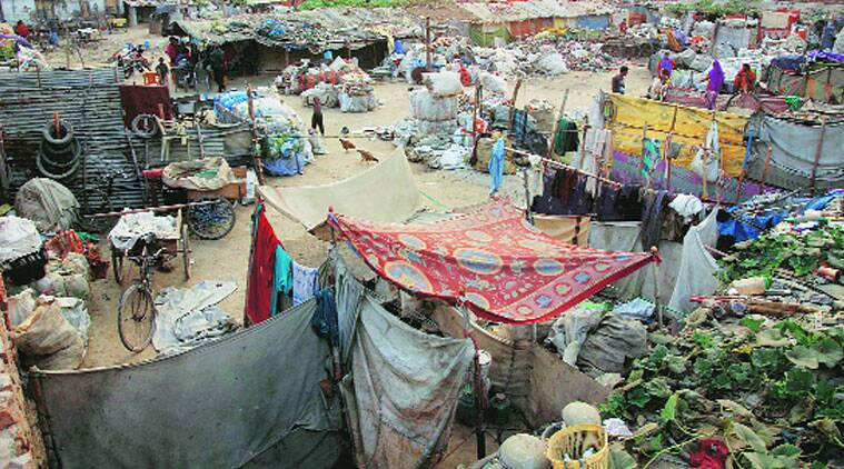 The slum in Agra where the 57 Muslim families reside. (Source: Express photo byGajendra Yadav)