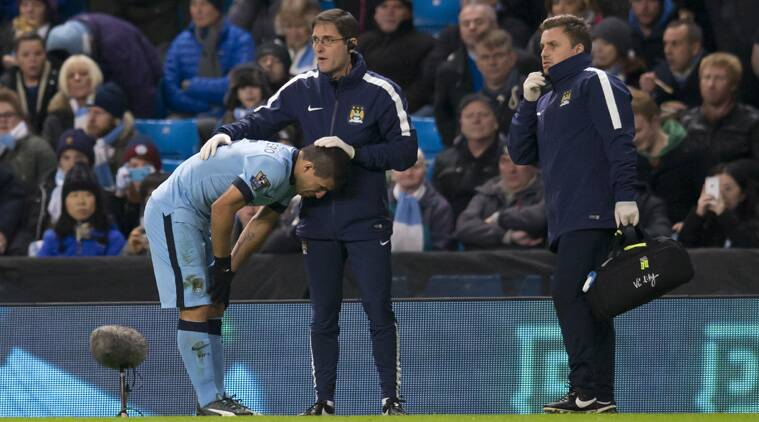 Sergio Aguero made a tearful exit in the third minute with a knee injury (Source: AP)