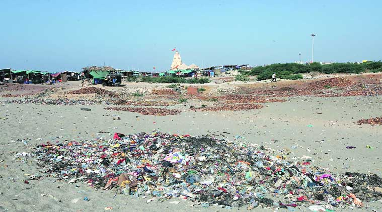 Garbage dumped in an area near the Somnath Temple. (Source: Express photo by Javed Raja)