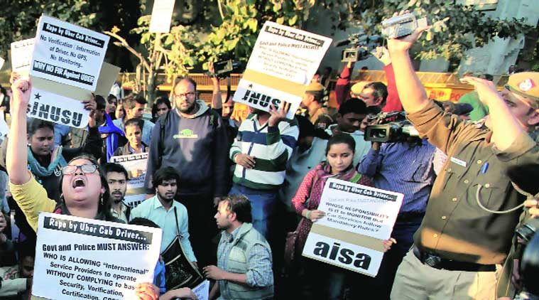 AISA and JNUSU activists protest Saturday's 'rape' outside the police headquarters at ITO on Sunday. (Source: Express photo by Ravi Kanojia)