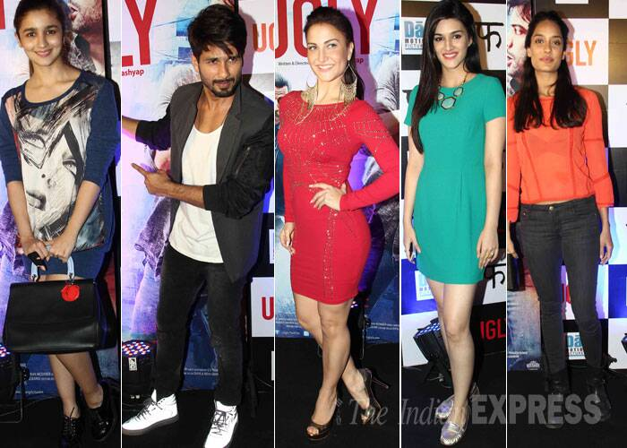Shaandaar couple Alia Bhatt and Shahid Kapoor watched Anurag Kashyap's soon-to-release Ugly. Also present at the film's screening was Lisa Haydon, Heorpanti actress Kriti Sanon, Ellia Avram and others. Take a look! (Source: Varinder Chawla)