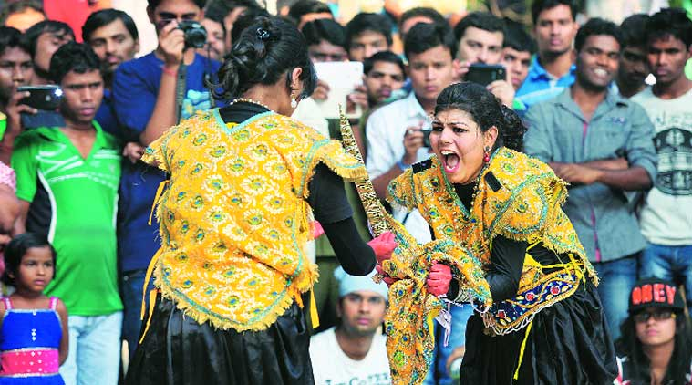 Students participate in events on the campus on Friday. (Source: Express photo by Prashant Nadkar)
