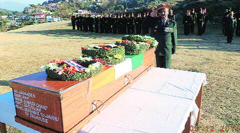 The body of Subash Chand was brought back to his village in Himachal Pradesh for last rites, Saturday. (Express photo)