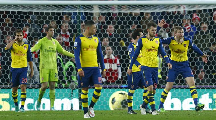 Arsenal's hopes of a third successive win were dashed by a 3-2 defeat at Stoke City. (Source: Reuters)