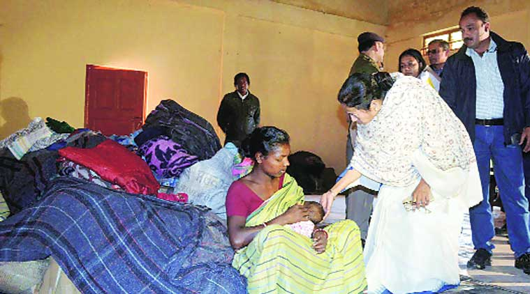 Mamata Banerjee inside a relief camp. (Source: PTI)