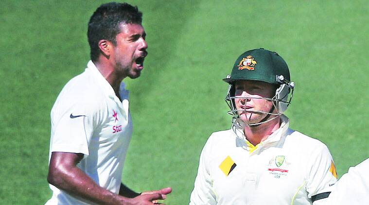 Varun Aaron dismissed Michael Clarke and clean bowled David Warner off a no-ball. (AP)