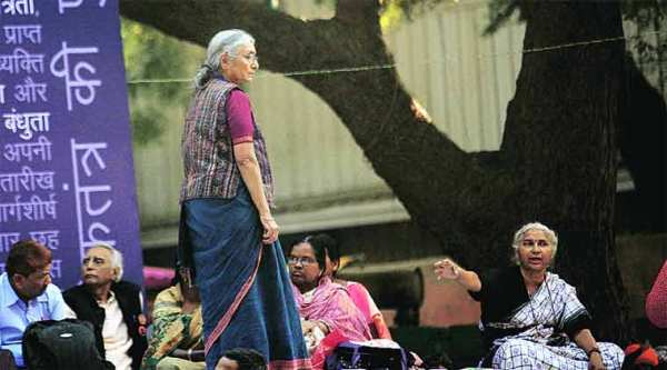 Aruna Roy (left) and Medha Patkar at the protest rally, in New Delhi on Tuesday. (Ravi Kanojia)