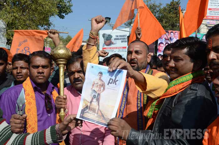 Bajrang Dal activists protesting against PK