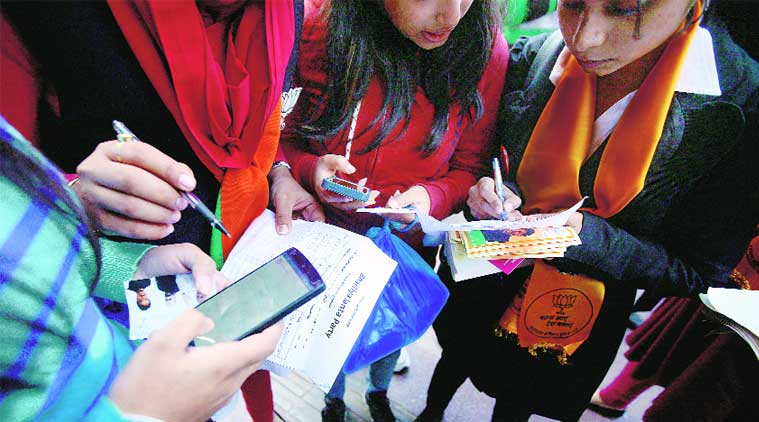 BJP supporters campaign in Connaught Place on Saturday. (Source: Express photo by Praveen Khanna)