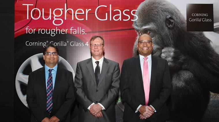 Amit Bansal, Appelt Thomas and Hollis James  at the Corning Gorilla Glass 4 launch.