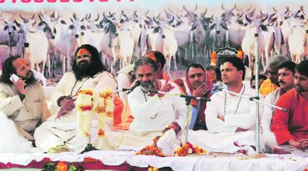 Seers and local leaders attend a rally against cow slaughter in Bhopal on Sunday.(Express)