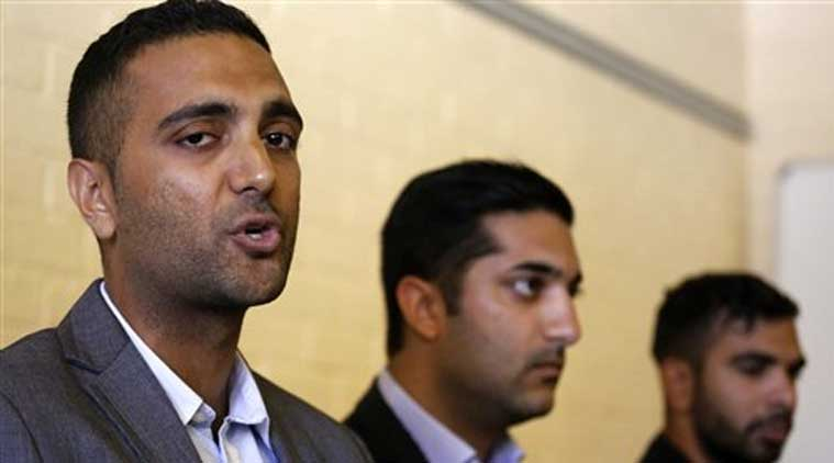 Anish Hindocha, left, the brother of Anni Dewani who was murdered during her honeymoon in South Africa in 2010, speaks at a press conference with other family members in the city of Cape Town, South Africa, Wednesday, Dec. 3, 2014. (Source: AP)